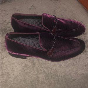 Louis Vuitton Men Burgundy Velvet Shoes Brand New